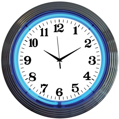 Chrome Rim Blue Neon Wall Clock